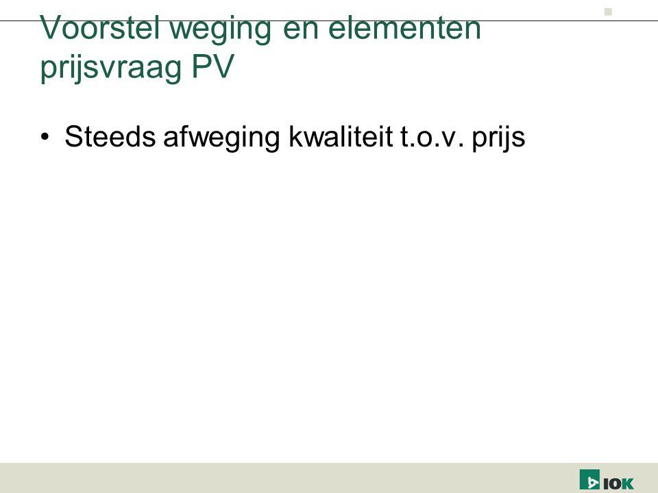 Voorstel weging en elementen prijsvraag PV Steeds afweging kwaliteit t.o.v. prijs