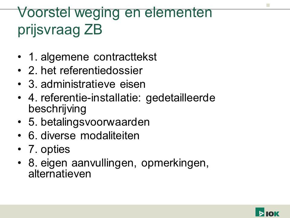 Voorstel weging en elementen prijsvraag ZB 1. algemene contracttekst 2. het referentiedossier 3. administratieve eisen 4. referentie-installatie: gede
