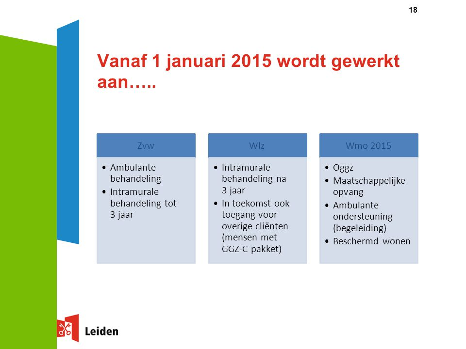 Vanaf 1 januari 2015 wordt gewerkt aan….. 18 Zvw Ambulante behandeling Intramurale behandeling tot 3 jaar Wlz Intramurale behandeling na 3 jaar In toe