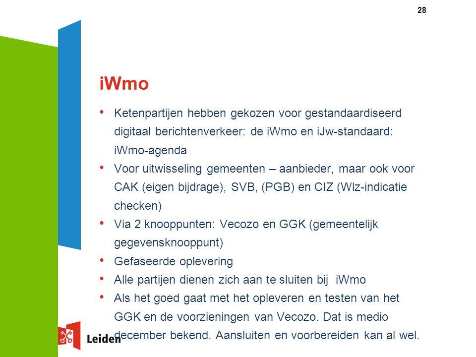 iWmo Ketenpartijen hebben gekozen voor gestandaardiseerd digitaal berichtenverkeer: de iWmo en iJw-standaard: iWmo-agenda Voor uitwisseling gemeenten – aanbieder, maar ook voor CAK (eigen bijdrage), SVB, (PGB) en CIZ (Wlz-indicatie checken) Via 2 knooppunten: Vecozo en GGK (gemeentelijk gegevensknooppunt) Gefaseerde oplevering Alle partijen dienen zich aan te sluiten bij iWmo Als het goed gaat met het opleveren en testen van het GGK en de voorzieningen van Vecozo.