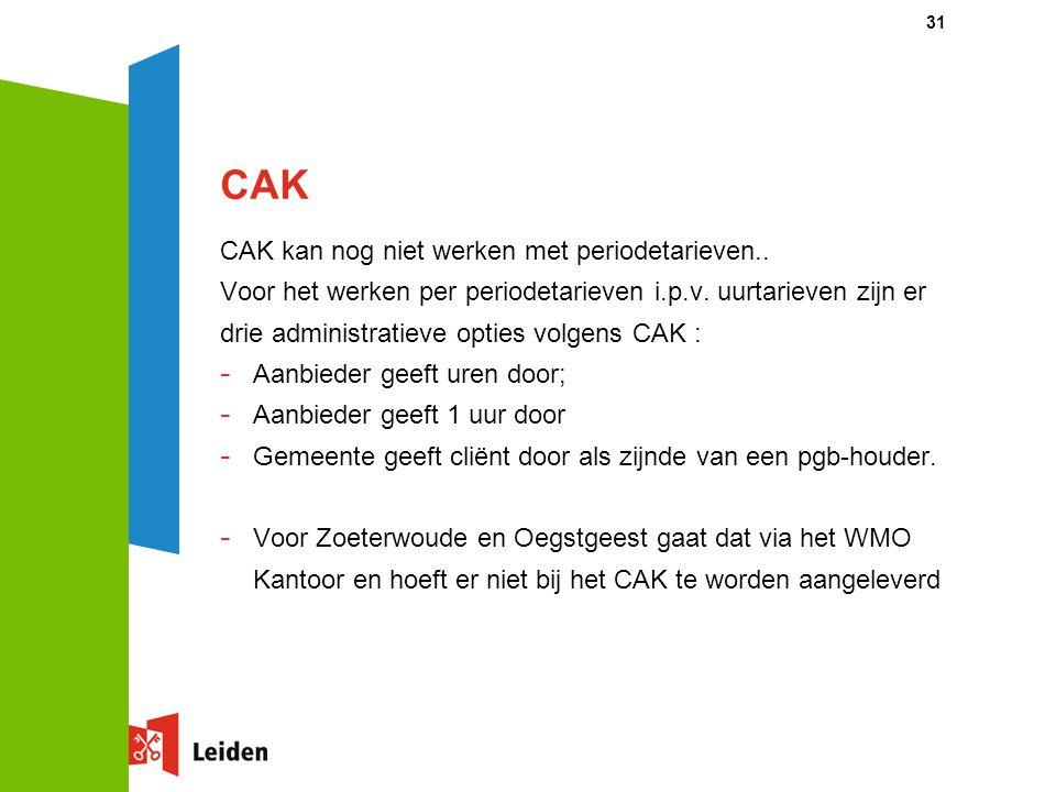 CAK CAK kan nog niet werken met periodetarieven.. Voor het werken per periodetarieven i.p.v. uurtarieven zijn er drie administratieve opties volgens C