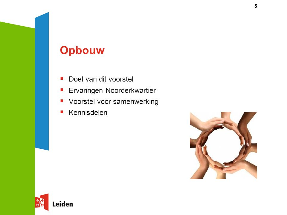 Opbouw  Doel van dit voorstel  Ervaringen Noorderkwartier  Voorstel voor samenwerking  Kennisdelen 55