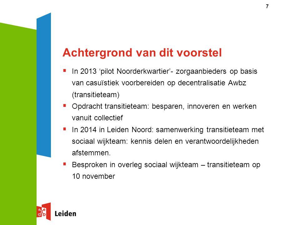 Achtergrond van dit voorstel  In 2013 'pilot Noorderkwartier'- zorgaanbieders op basis van casuïstiek voorbereiden op decentralisatie Awbz (transitie