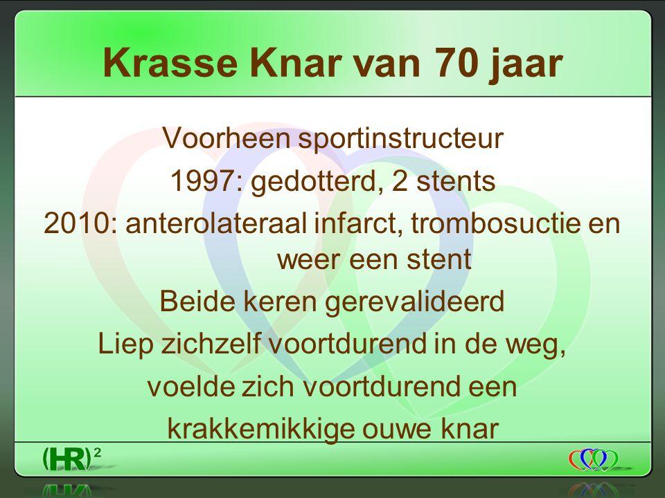 Krasse Knar van 70 jaar Voorheen sportinstructeur 1997: gedotterd, 2 stents 2010: anterolateraal infarct, trombosuctie en weer een stent Beide keren gerevalideerd Liep zichzelf voortdurend in de weg, voelde zich voortdurend een krakkemikkige ouwe knar
