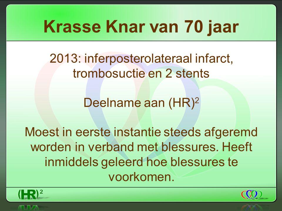 Krasse Knar van 70 jaar 2013: inferposterolateraal infarct, trombosuctie en 2 stents Deelname aan (HR) 2 Moest in eerste instantie steeds afgeremd worden in verband met blessures.
