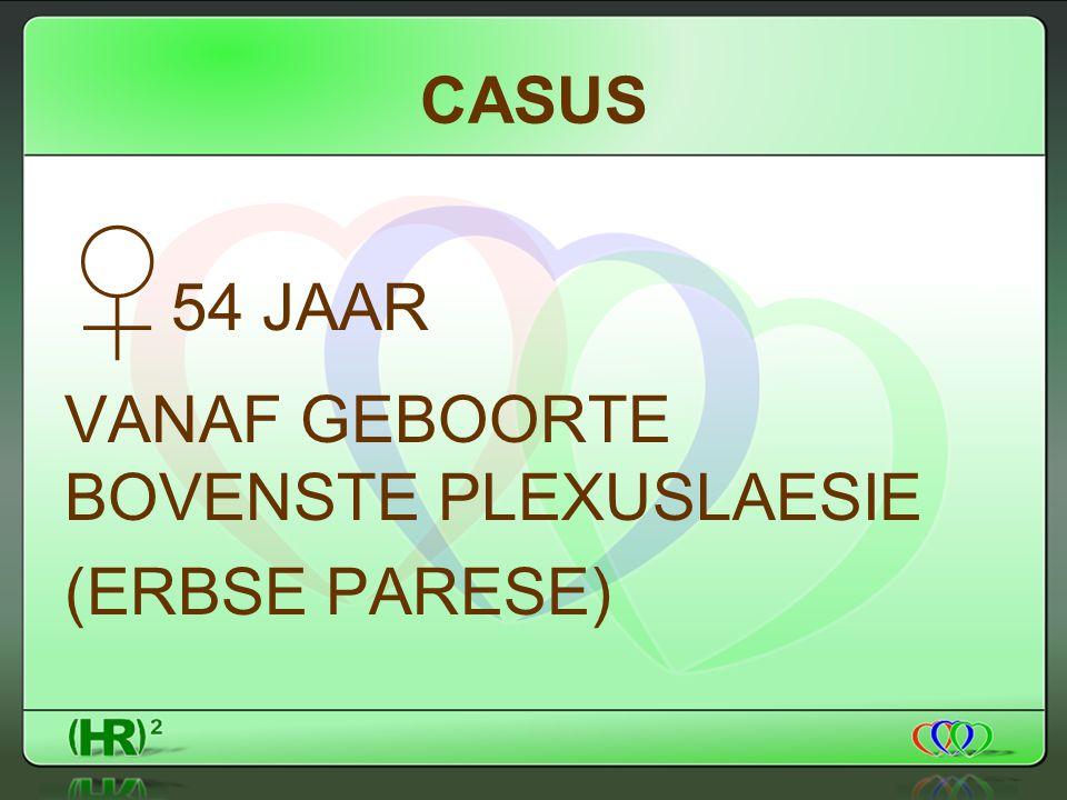 CASUS ♀ 54 JAAR VANAF GEBOORTE BOVENSTE PLEXUSLAESIE (ERBSE PARESE)