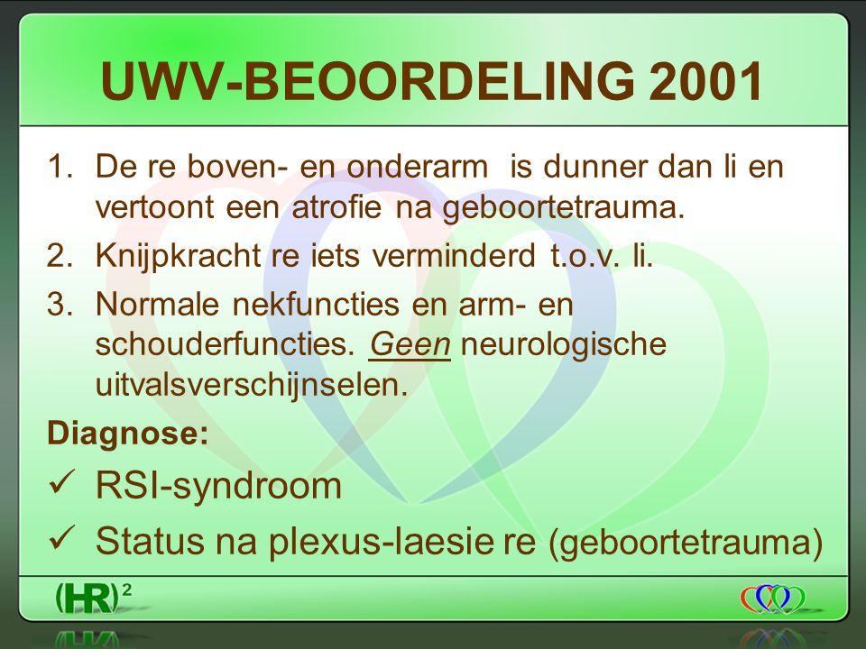 UWV-BEOORDELING 2001 1.De re boven- en onderarm is dunner dan li en vertoont een atrofie na geboortetrauma.