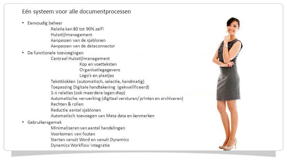 Eén systeem voor alle documentprocessen Eenvoudig beheer Relatie kan 80 tot 90% zelf! Huisstijlmanagement Aanpassen van de sjablonen Aanpassen van de