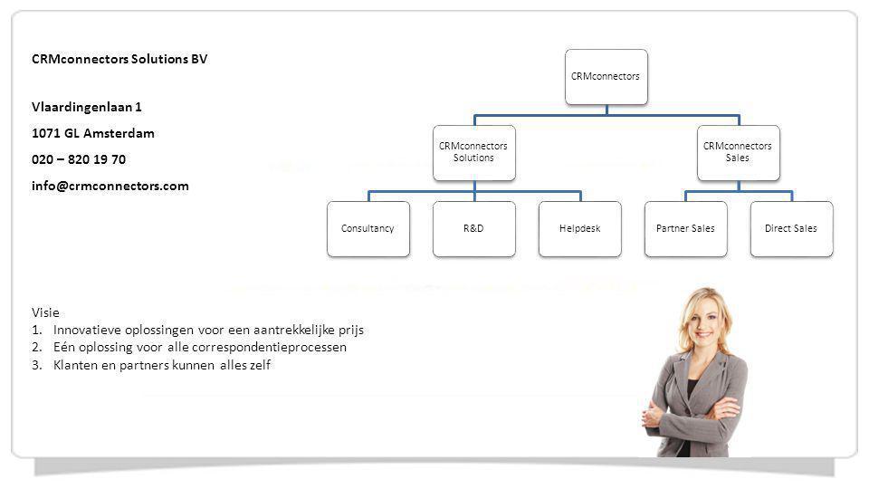 Prettig en efficiënt (samen)werken Inzicht in de bedrijfsvoering Efficiënt en uniform corresponderen Gespecialiseerd in het stroomlijnen en digitaliseren van documentprocessen Waar Microsoft ophoudt gaat CRMconnectors verder