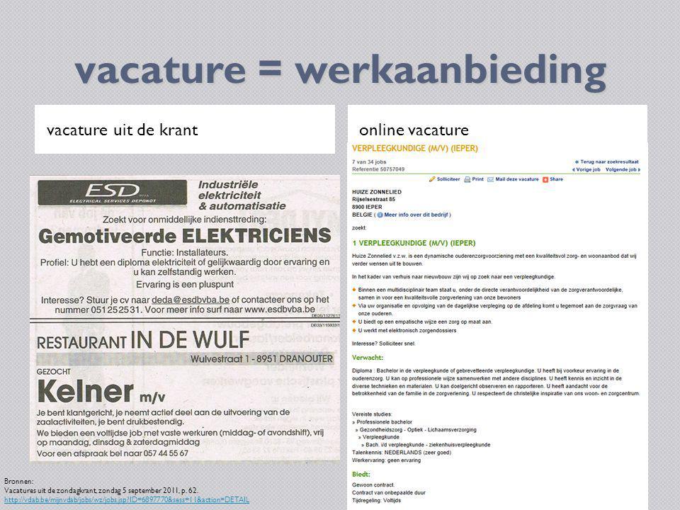 vacature = werkaanbieding vacature uit de krantonline vacature Bronnen: Vacatures uit de zondagkrant, zondag 5 september 2011, p. 62. http://vdab.be/m