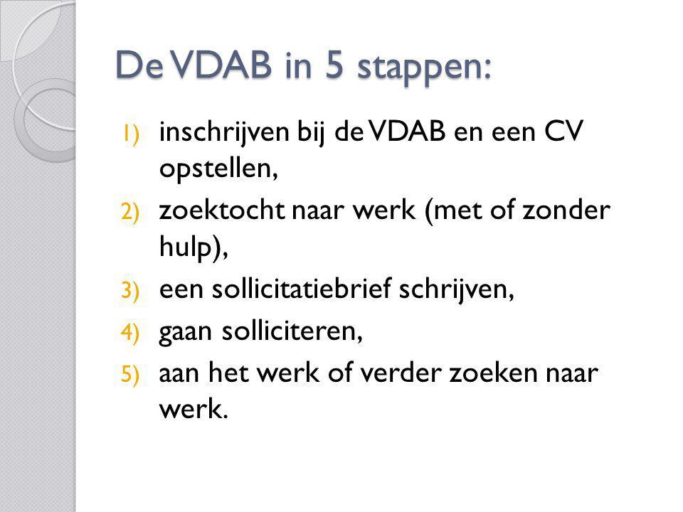 De VDAB in 5 stappen: 1) inschrijven bij de VDAB en een CV opstellen, 2) zoektocht naar werk (met of zonder hulp), 3) een sollicitatiebrief schrijven,
