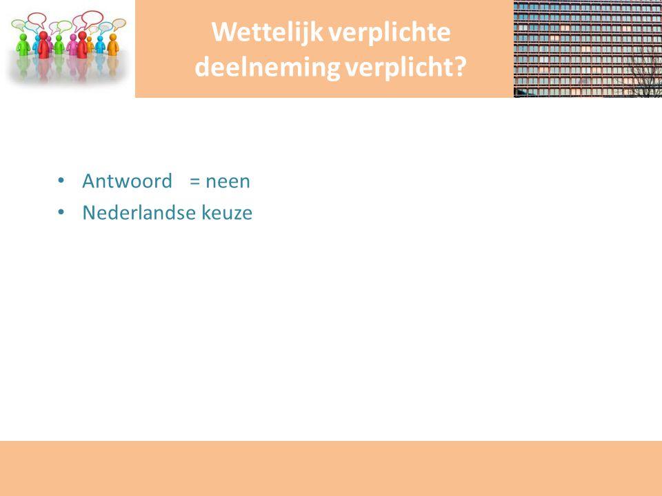 Antwoord = neen Nederlandse keuze Wettelijk verplichte deelneming verplicht?