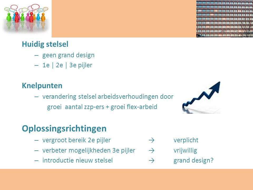 Huidig stelsel – geen grand design – 1e | 2e | 3e pijler Knelpunten – verandering stelsel arbeidsverhoudingen door groei aantal zzp-ers + groei flex-a