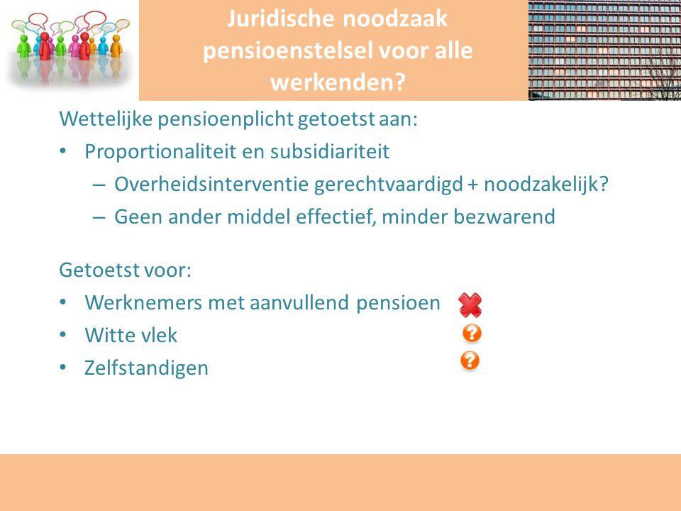 Wettelijke pensioenplicht getoetst aan: Proportionaliteit en subsidiariteit – Overheidsinterventie gerechtvaardigd + noodzakelijk? – Geen ander middel