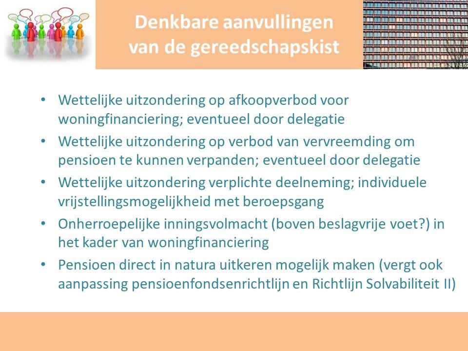 Wettelijke uitzondering op afkoopverbod voor woningfinanciering; eventueel door delegatie Wettelijke uitzondering op verbod van vervreemding om pensio