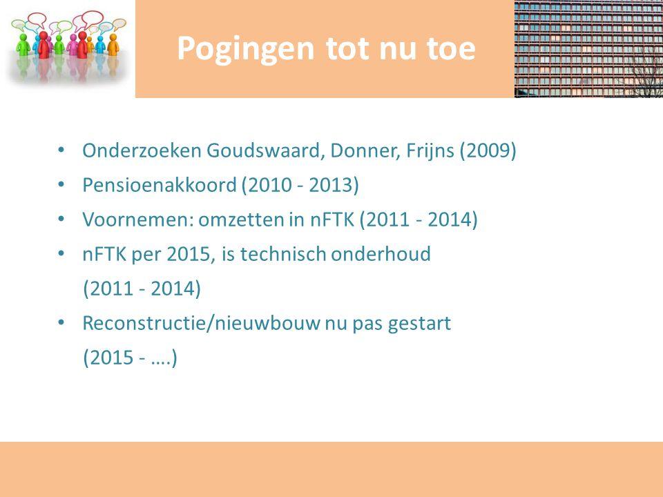 Onderzoeken Goudswaard, Donner, Frijns (2009) Pensioenakkoord (2010 - 2013) Voornemen: omzetten in nFTK (2011 - 2014) nFTK per 2015, is technisch onde