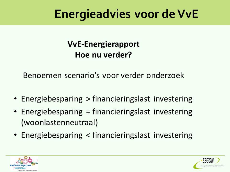 Energieadvies voor de VvE VvE-Energierapport Hoe nu verder? Benoemen scenario's voor verder onderzoek Energiebesparing > financieringslast investering