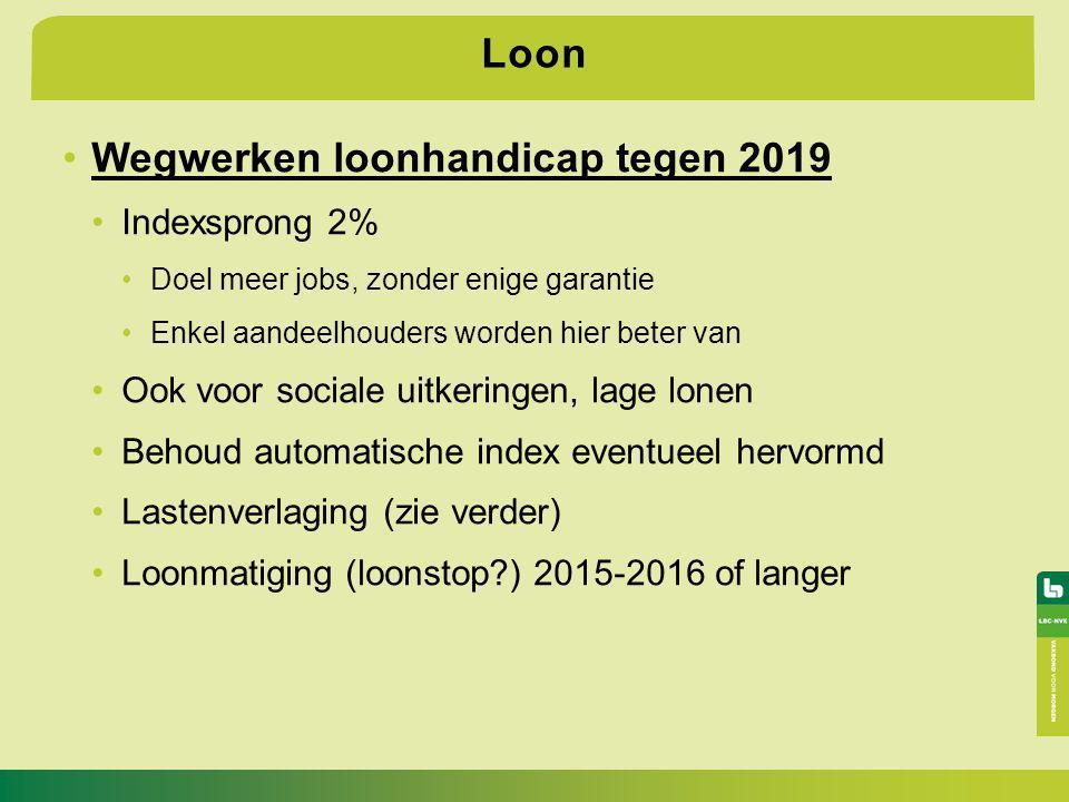 Loon Wegwerken loonhandicap tegen 2019 Indexsprong 2% Doel meer jobs, zonder enige garantie Enkel aandeelhouders worden hier beter van Ook voor social