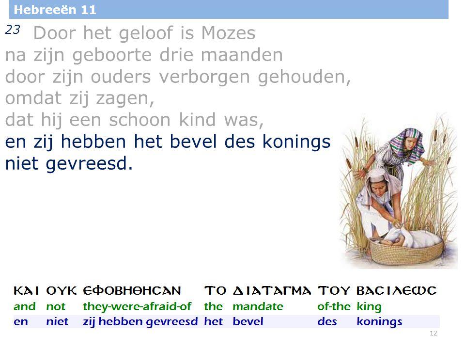 12 Hebreeën 11 23 Door het geloof is Mozes na zijn geboorte drie maanden door zijn ouders verborgen gehouden, omdat zij zagen, dat hij een schoon kind was, en zij hebben het bevel des konings niet gevreesd.