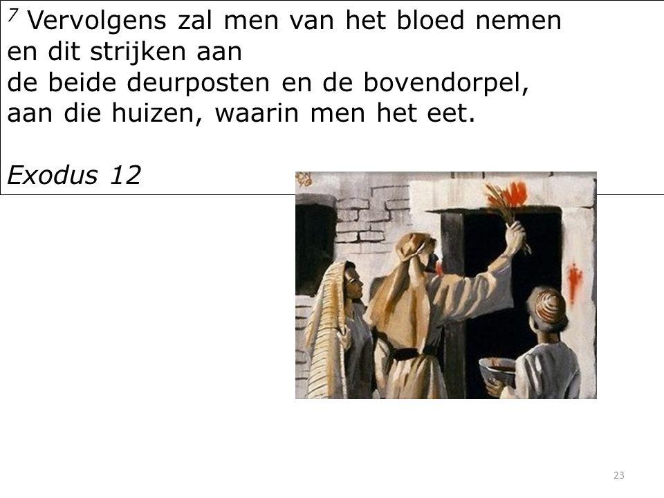 23 7 Vervolgens zal men van het bloed nemen en dit strijken aan de beide deurposten en de bovendorpel, aan die huizen, waarin men het eet.