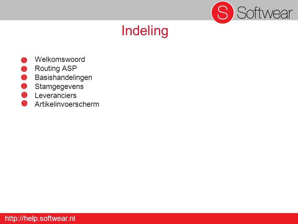 http://help.softwear.nl Indeling Welkomswoord Routing ASP Basishandelingen Stamgegevens Leveranciers Artikelinvoerscherm