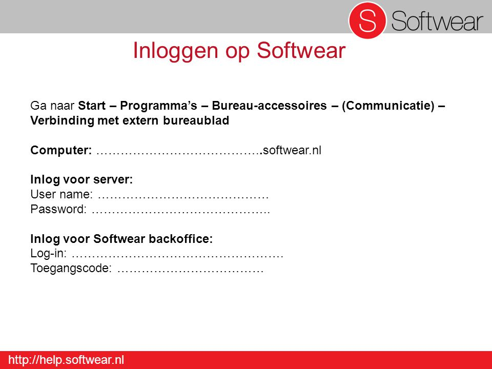 http://help.softwear.nl Leverancier s Opmerkingen Detail – Leverancier – Invoer leverancier - Opmerkingen