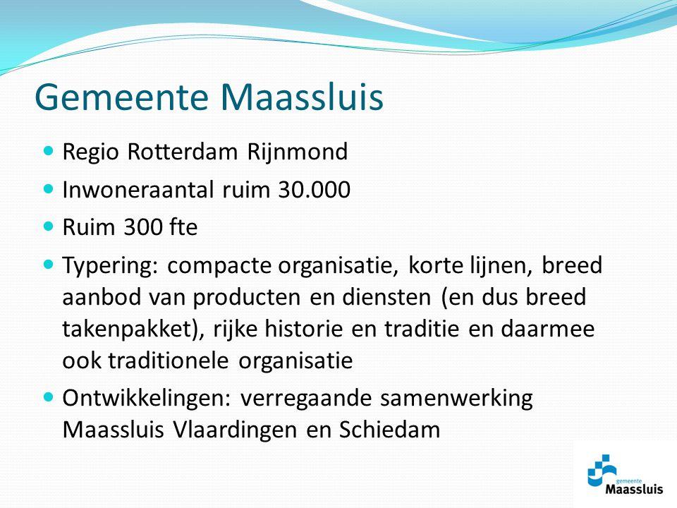 Regio Rotterdam Rijnmond Inwoneraantal ruim 30.000 Ruim 300 fte Typering: compacte organisatie, korte lijnen, breed aanbod van producten en diensten (en dus breed takenpakket), rijke historie en traditie en daarmee ook traditionele organisatie Ontwikkelingen: verregaande samenwerking Maassluis Vlaardingen en Schiedam