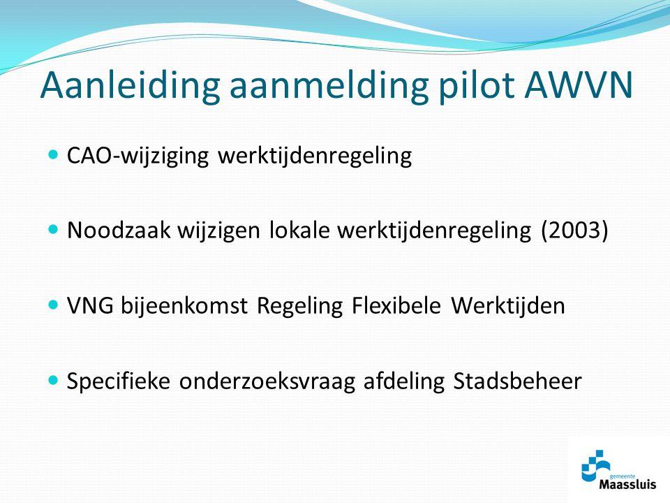 Aanleiding aanmelding pilot AWVN CAO-wijziging werktijdenregeling Noodzaak wijzigen lokale werktijdenregeling (2003) VNG bijeenkomst Regeling Flexibele Werktijden Specifieke onderzoeksvraag afdeling Stadsbeheer