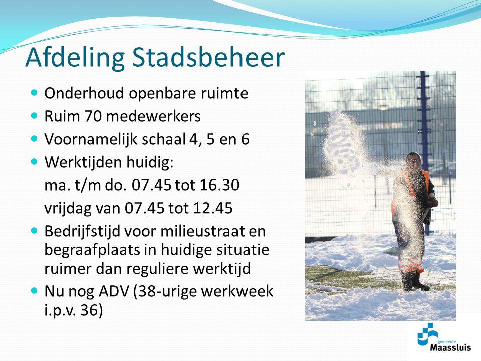 Afdeling Stadsbeheer Onderhoud openbare ruimte Ruim 70 medewerkers Voornamelijk schaal 4, 5 en 6 Werktijden huidig: ma.
