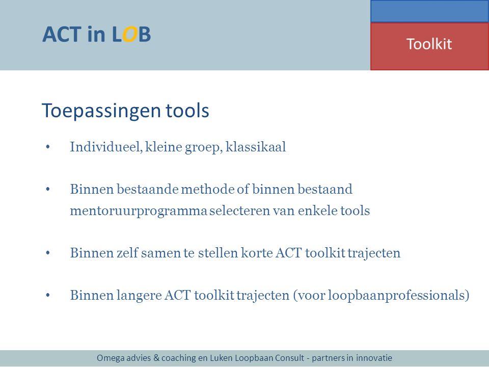 Toepassingen tools Individueel, kleine groep, klassikaal Binnen bestaande methode of binnen bestaand mentoruurprogramma selecteren van enkele tools Bi