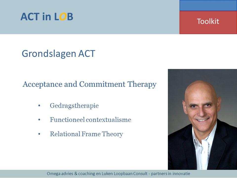Grondslagen ACT Gedragstherapie Functioneel contextualisme Relational Frame Theory Omega advies & coaching en Luken Loopbaan Consult - partners in inn