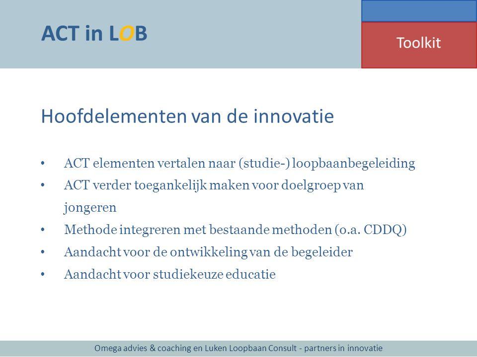 Hoofdelementen van de innovatie ACT elementen vertalen naar (studie-) loopbaanbegeleiding ACT verder toegankelijk maken voor doelgroep van jongeren Me