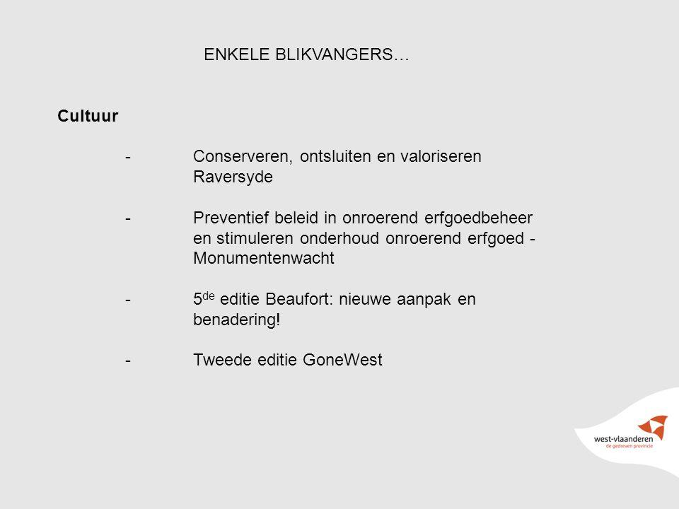 14 ENKELE BLIKVANGERS… Cultuur -Conserveren, ontsluiten en valoriseren Raversyde -Preventief beleid in onroerend erfgoedbeheer en stimuleren onderhoud onroerend erfgoed - Monumentenwacht -5 de editie Beaufort: nieuwe aanpak en benadering.