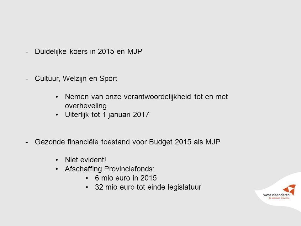 16 -Duidelijke koers in 2015 en MJP -Cultuur, Welzijn en Sport Nemen van onze verantwoordelijkheid tot en met overheveling Uiterlijk tot 1 januari 2017 -Gezonde financiële toestand voor Budget 2015 als MJP Niet evident.