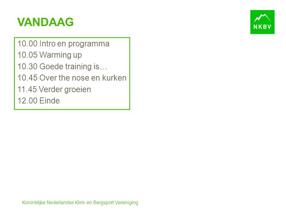 Koninklijke Nederlandse Klim- en Bergsport Vereniging VANDAAG 10.00 Intro en programma 10.05 Warming up 10.30 Goede training is… 10.45 Over the nose en kurken 11.45 Verder groeien 12.00 Einde
