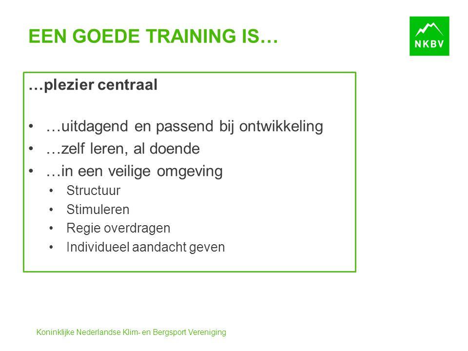 Koninklijke Nederlandse Klim- en Bergsport Vereniging EEN GOEDE TRAINING IS… …plezier centraal …uitdagend en passend bij ontwikkeling …zelf leren, al