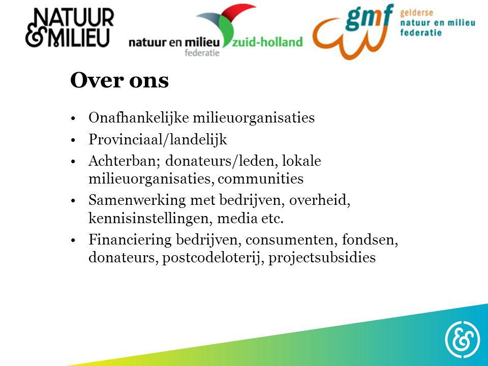Over ons Onafhankelijke milieuorganisaties Provinciaal/landelijk Achterban; donateurs/leden, lokale milieuorganisaties, communities Samenwerking met b