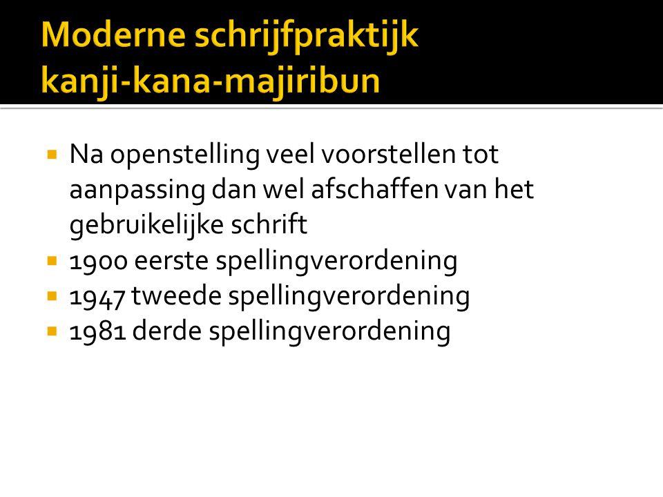  Na openstelling veel voorstellen tot aanpassing dan wel afschaffen van het gebruikelijke schrift  1900 eerste spellingverordening  1947 tweede spellingverordening  1981 derde spellingverordening