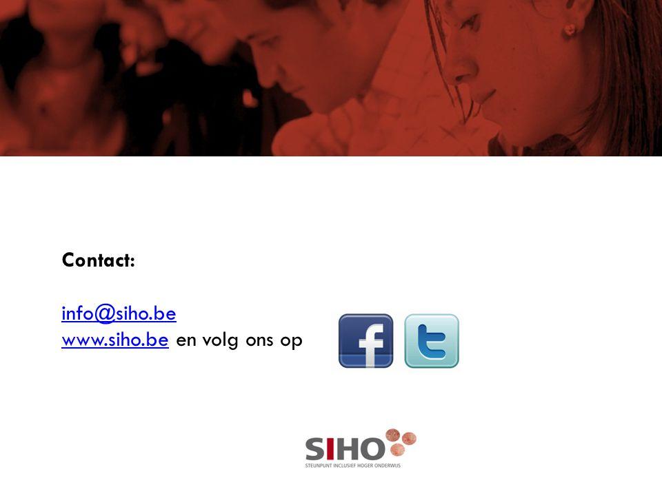 Contact: info@siho.be www.siho.be en volg ons op info@siho.be www.siho.be