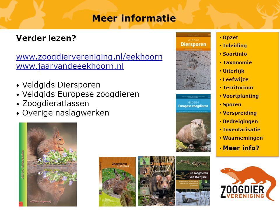 Meer informatie Opzet Inleiding Soortinfo Taxonomie Uiterlijk Leefwijze Territorium Voortplanting Sporen Verspreiding Bedreigingen Inventarisatie Waar