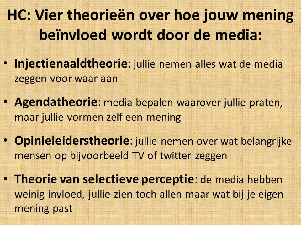 HC: Vier theorieën over hoe jouw mening beïnvloed wordt door de media: Injectienaaldtheorie: jullie nemen alles wat de media zeggen voor waar aan Agen