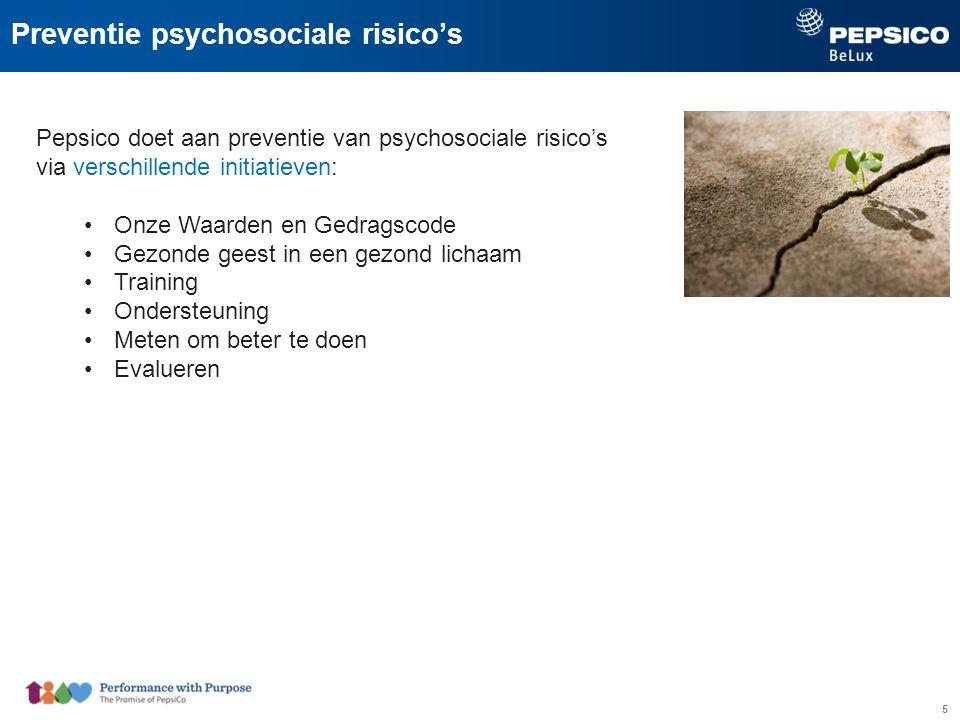 5 Preventie psychosociale risico's Pepsico doet aan preventie van psychosociale risico's via verschillende initiatieven: Onze Waarden en Gedragscode Gezonde geest in een gezond lichaam Training Ondersteuning Meten om beter te doen Evalueren