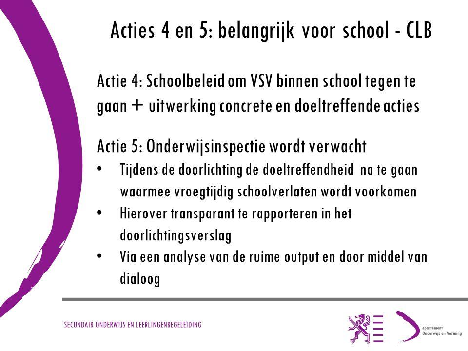 Acties 4 en 5: belangrijk voor school - CLB Actie 4: Schoolbeleid om VSV binnen school tegen te gaan + uitwerking concrete en doeltreffende acties Act