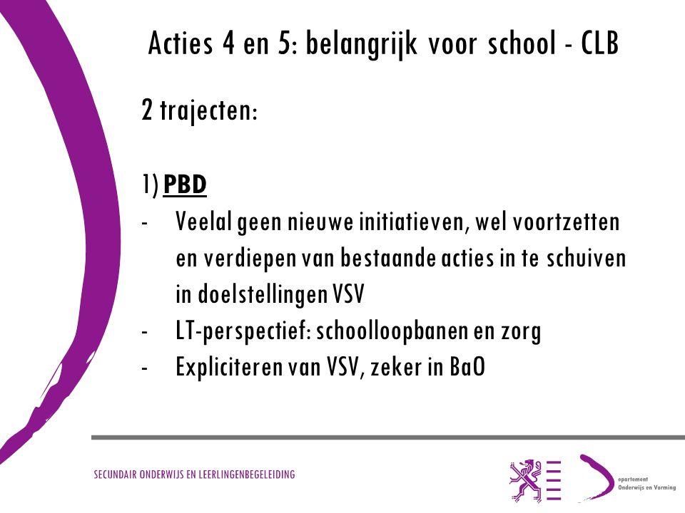 Acties 4 en 5: belangrijk voor school - CLB 2 trajecten: 1) PBD -Veelal geen nieuwe initiatieven, wel voortzetten en verdiepen van bestaande acties in