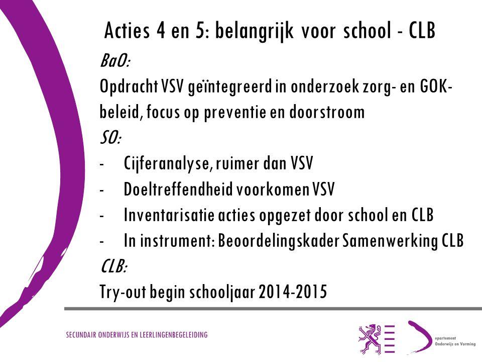 Acties 4 en 5: belangrijk voor school - CLB BaO: Opdracht VSV geïntegreerd in onderzoek zorg- en GOK- beleid, focus op preventie en doorstroom SO: -Ci