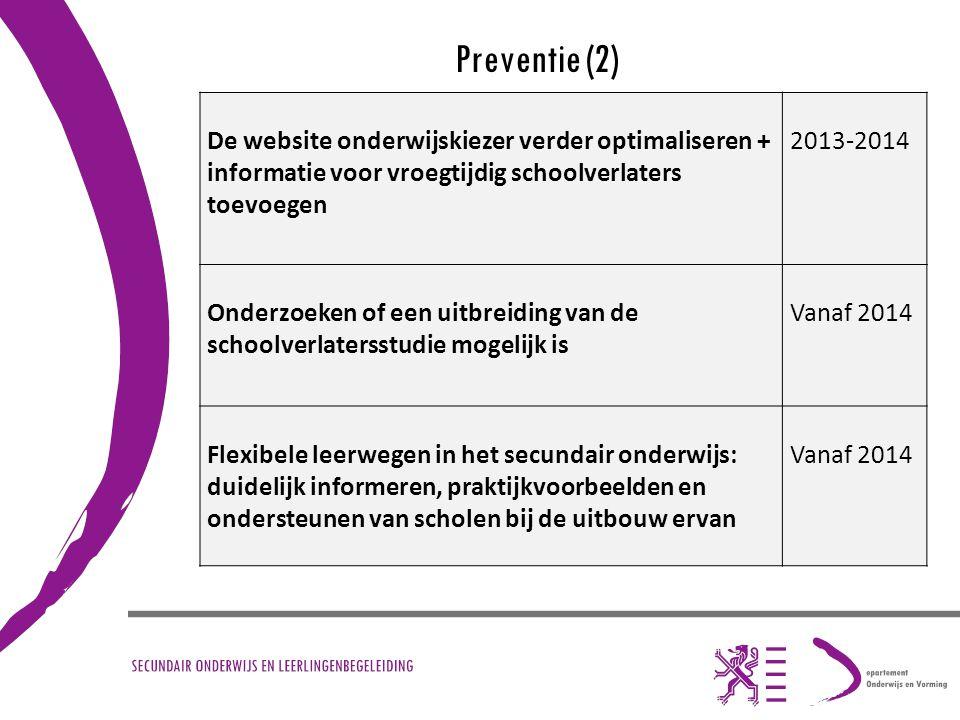 Preventie (2) De website onderwijskiezer verder optimaliseren + informatie voor vroegtijdig schoolverlaters toevoegen 2013-2014 Onderzoeken of een uit