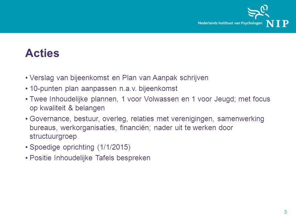 Acties Verslag van bijeenkomst en Plan van Aanpak schrijven 10-punten plan aanpassen n.a.v.