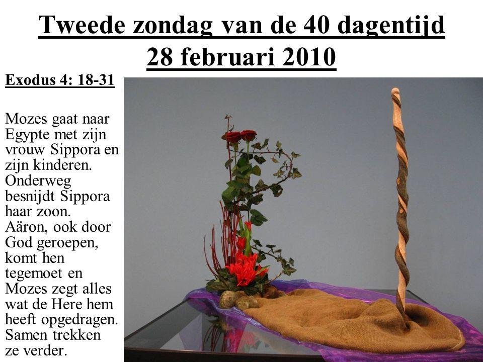 Tweede zondag van de 40 dagentijd 28 februari 2010 Exodus 4: 18-31 Mozes gaat naar Egypte met zijn vrouw Sippora en zijn kinderen.