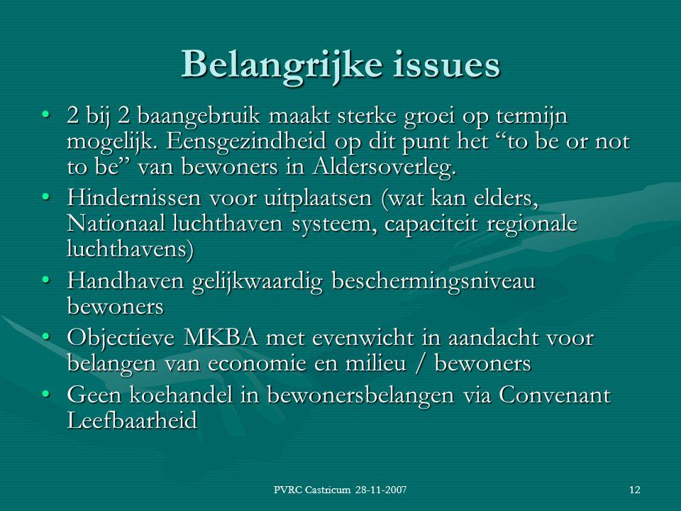 PVRC Castricum 28-11-200712 Belangrijke issues 2 bij 2 baangebruik maakt sterke groei op termijn mogelijk.