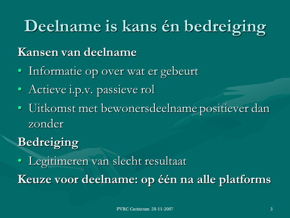 PVRC Castricum 28-11-20073 Deelname is kans én bedreiging Kansen van deelname Informatie op over wat er gebeurtInformatie op over wat er gebeurt Actieve i.p.v.